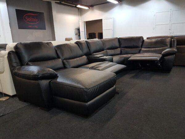 Relax ülőgarnitúra - Softaly U 214 fekete bőr