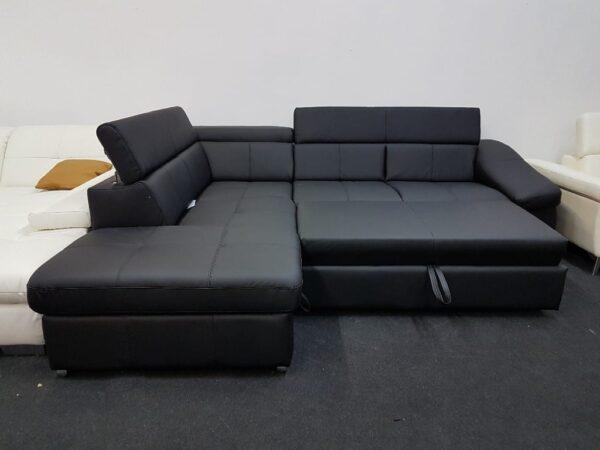 BRAVO ágyazható bőr ülőgarnitúra (fekete)