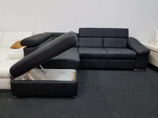 BRAVO ágyneműtartós, ágyazható bőr ülőgarnitúra