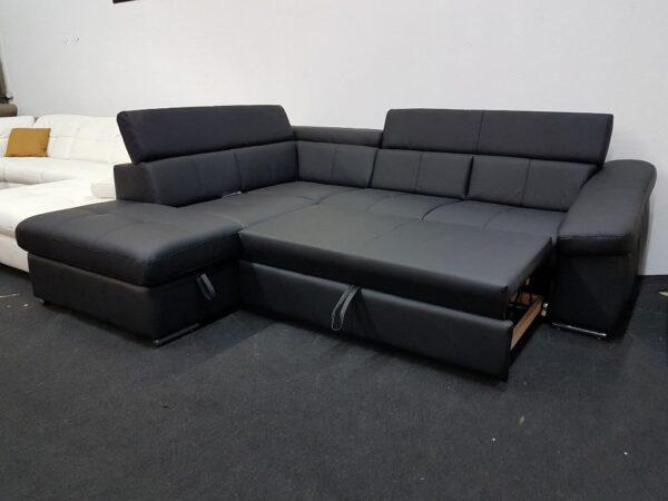 BRAVO bőr ülőgarnitúra ágyazható (fekete)