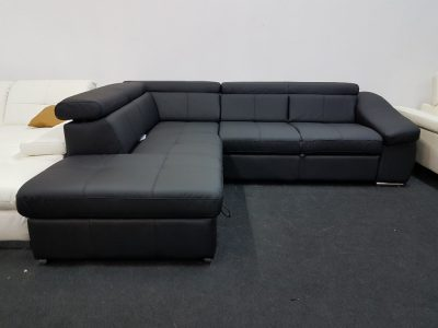 BRAVO bőr ülőgarnitúra - fekete bőr kanapé