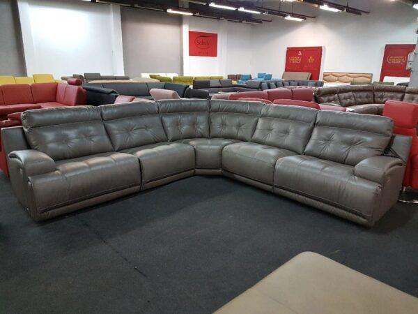 Softaly U 108 bőr relax ülőgarnitúra szürke