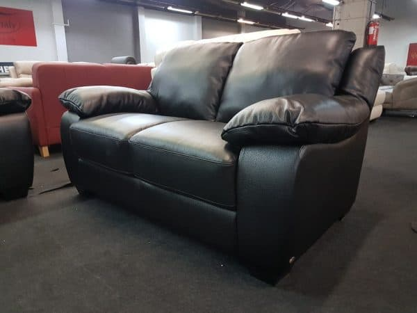 SOFTALY U 092 bőr kanapé (fekete)
