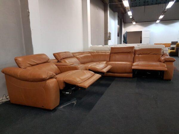 Relax funkciós bőr ülőgarnitúra Softaly 076 (chau)
