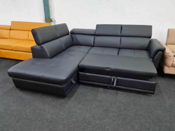 Montis ágyazható bőr ülőgarnitúra fekete