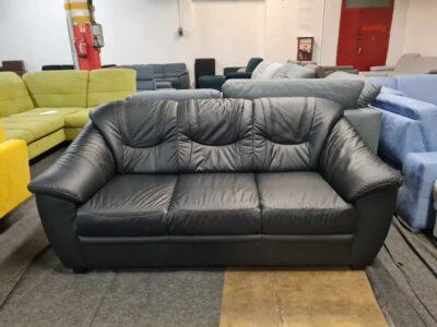 Savona valódi bőr kanapé (fekete)