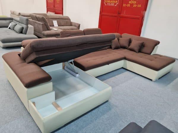 Style U alakú kanapé - ágyazható ülőgarnitúra, ágyneműtartós